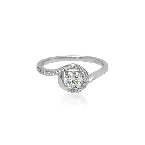 Unique Twist Diamond Halo Ring
