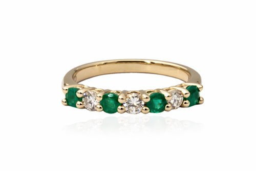yellow gold and emerals ring