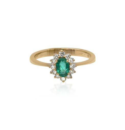 18ct Yellow Gold Emerald Cluster Ring
