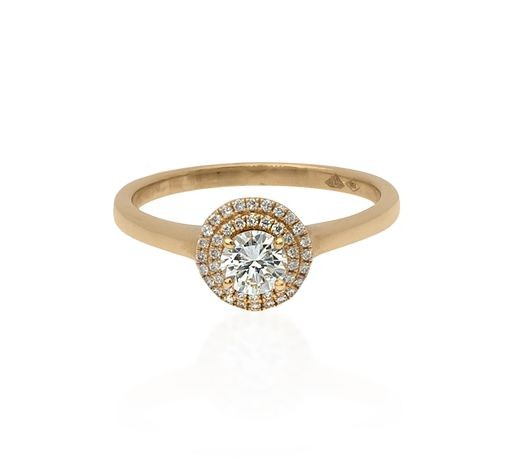 18ct yellow gold double halo design ring set with natural Diamo