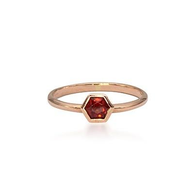 Rose Gold Hexagonal Garnet Ring