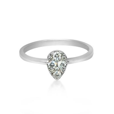 18ct Pear Shape Pave Ring