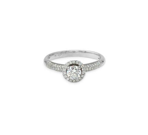 18ct white gold halo design ring with a pave set diamond band