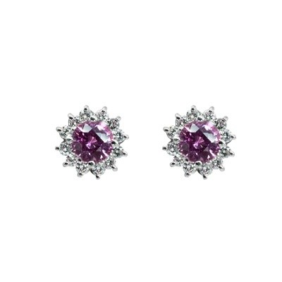 Prins & Prins | One pair of 18ct white gold cluster earrings set with natural Diamonds and vivid pink sapphires.