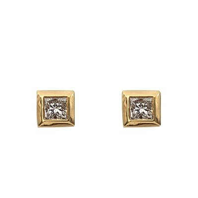 Yellow Gold Princess Cut Diamond Earrings