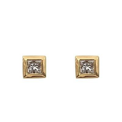 Yellow Gold Princess Cut Diamond Earrings