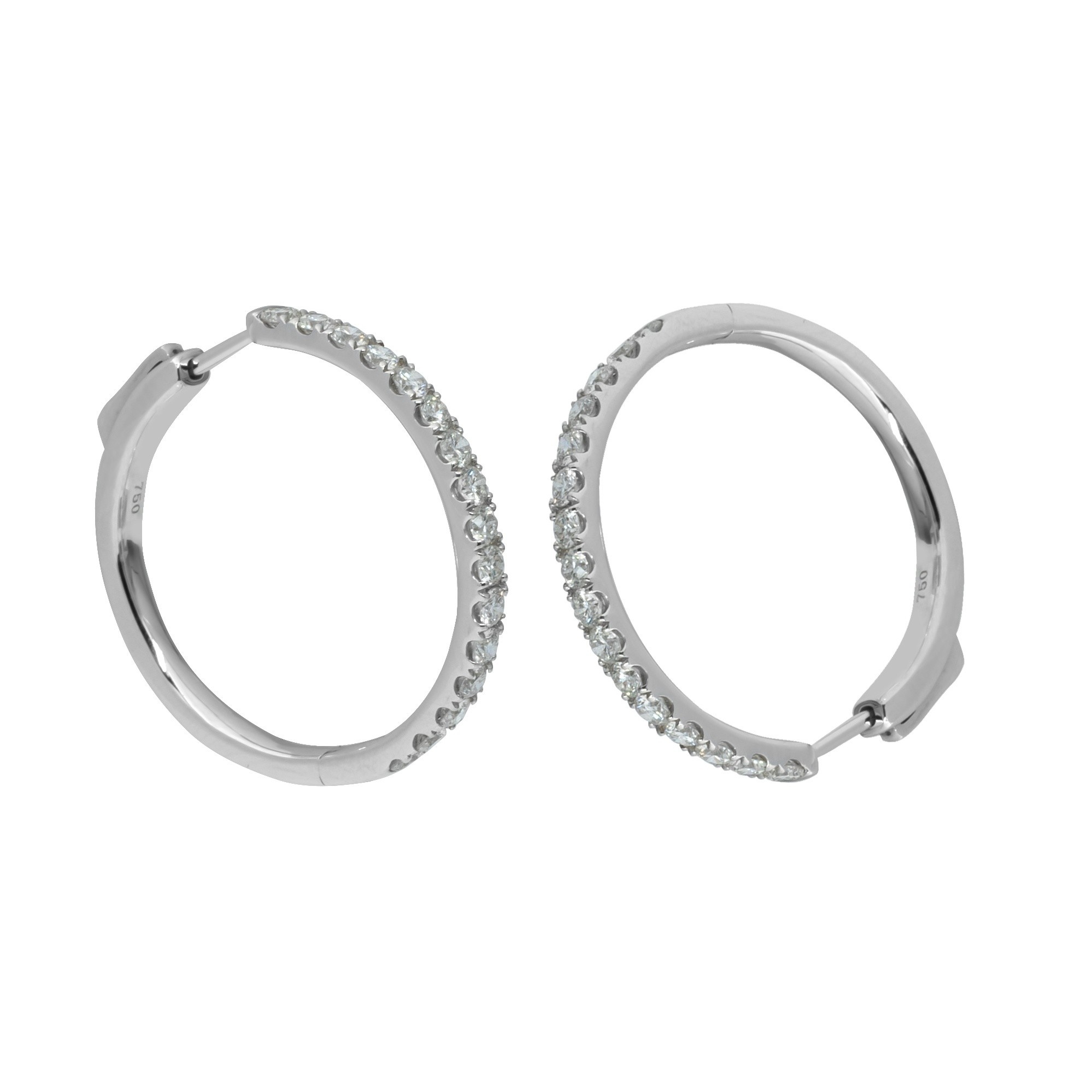 ne pair of 18ct white gold huggie earrings set with natural Diamonds