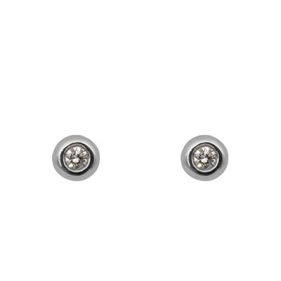 White Gold Bezel Set Diamond Earrings
