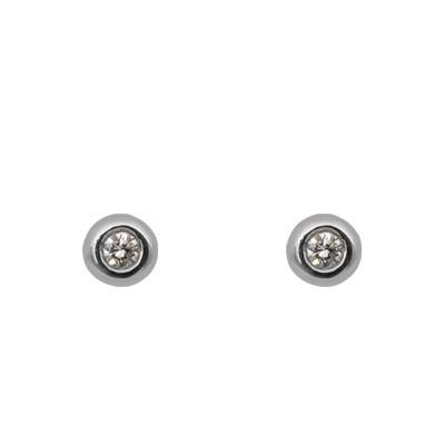White Gold Bezel Set Diamond Earrings