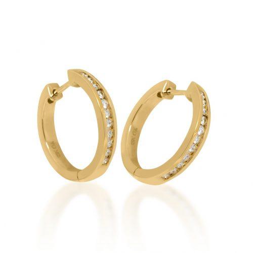 Yellow Gold Channel Set Diamond Earrings