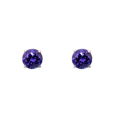 One pair of 18ct white gold 4 claw set Tanzanite stud earrings.