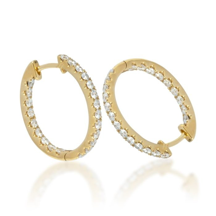 One pair of 18ct yellow gold huggy earrings set with natural Diamonds Diamonds: 44 = 0.99ct G/H VS-SI Round Brilliant cut