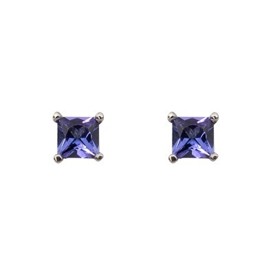 18ct white gold 4 claw set stud earrings with 2=1.11ct princess cut natural Tanzanites.