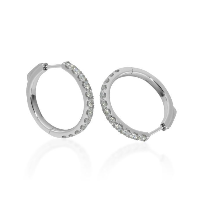 One pair of 18ct white gold huggy earrings set with natural Diamonds Diamonds: 24 = 1.13ct  G/H  VS Round Brilliant cut