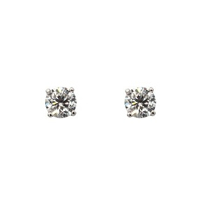 One pair of 18ct white gold 4 claw set stud earrings with 2=2.00ct round brilliant cut natural diamonds.