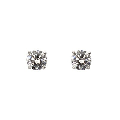 One pair of 18ct white gold 4 claw set stud earrings with 2=1.01ctct round brilliant cut natural diamonds.