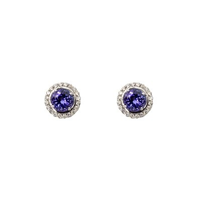 18ct white gold halo earrings set with Tanzanite and Diamonds