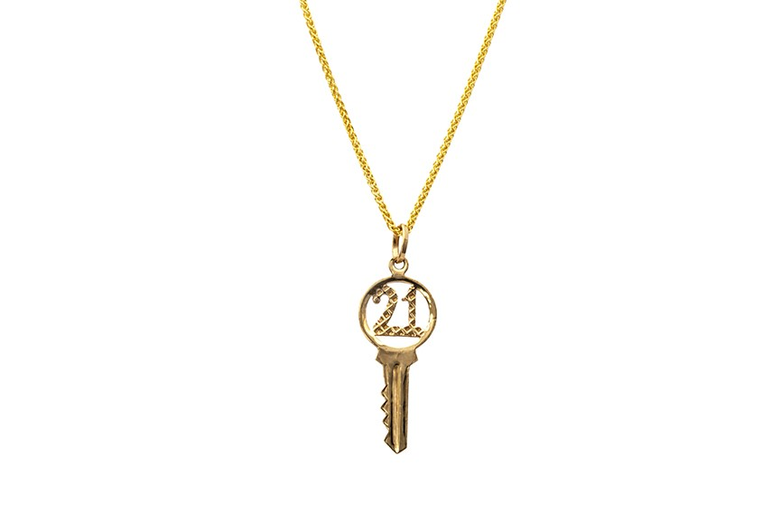 9ct yellow gold 21st key pendant or charm