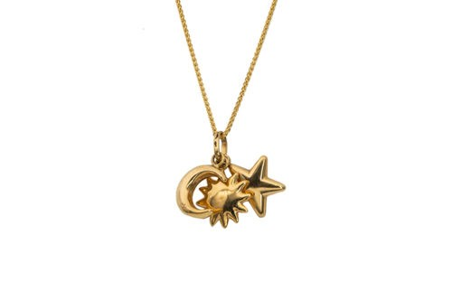 sun moon and start gold pendant