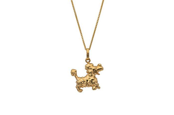 gold poodle pendant