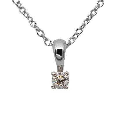 White Gold Four Claw Diamond Pendant