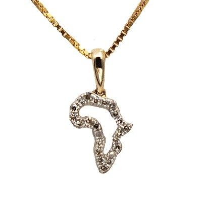 9ct Gold and Diamond Africa Continent Pendant