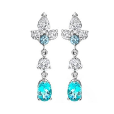 Paraiba Tourmaline and Diamond Earrings